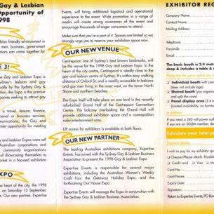 1998 SGLBA Gay & Lesbian Expo INSIDE PAGE 2000pxl