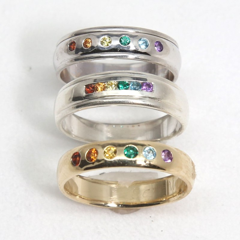 SQUARE Gaydesign by Michele Female ladies rainbow rings x 3 800x800pxl