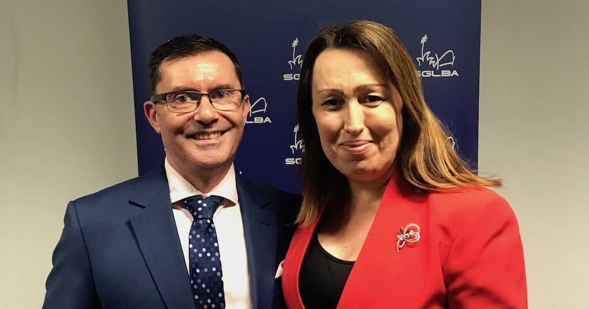 (L-R) Mark Haines with incoming President, Katherine Maver.